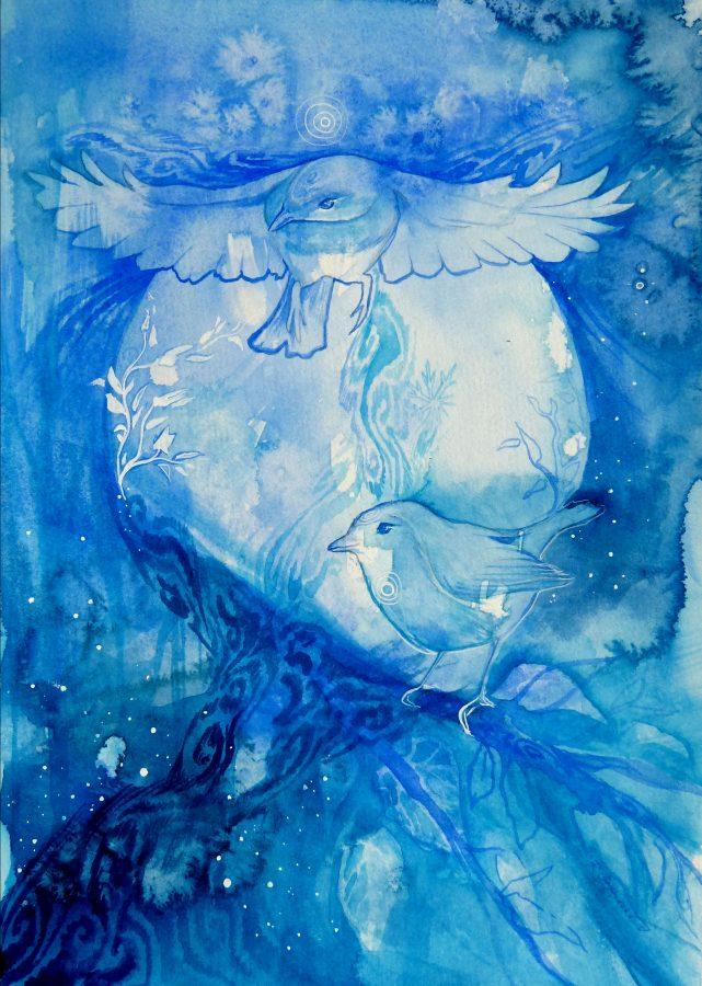 Soul Bird Watercolor Painting