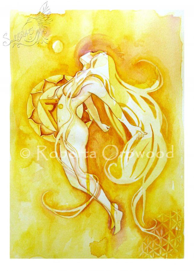 Solar Plexus Chakra Watercolor Painting